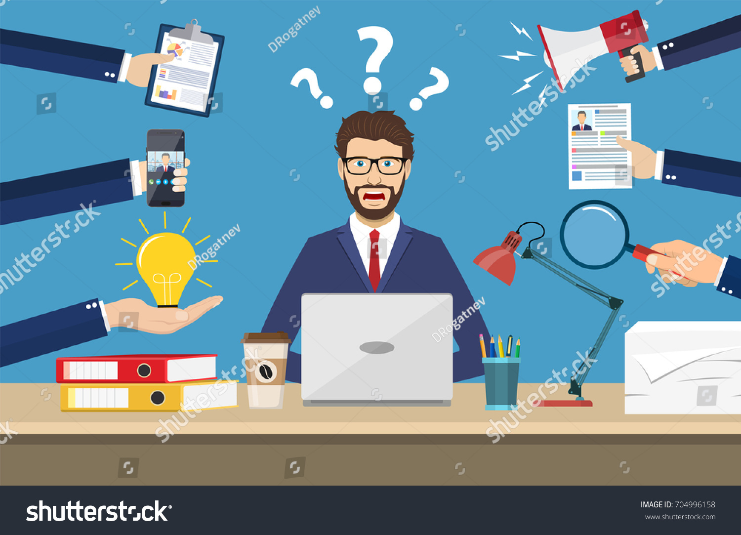 stock-vector-happy-businessman-with-many-hands-holding-papers-coffee-mobile-phone-multitasking-and-704996158.jpg